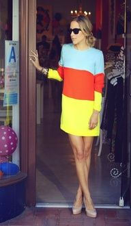 can't think of a better way to show off fabulous legs than a color-blocked shift dress and nude heels