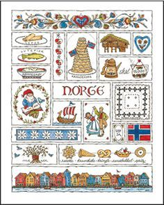 Norge Notecards by Jana Johnson Schnoor Scandinavian Countries, Scandinavian Folk Art, Scandinavian Christmas, Scandinavian Festival, Norwegian Christmas, Penny Rugs, Note Cards, Cross Stitch, Quilts