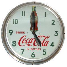 Coca-Cola neon shaker clock, diecut porcelain