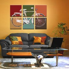 San Francisco Map Retro Bicycle Six Panel Canvas by ModernCanvas