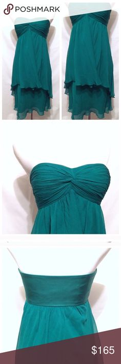 TIBI NYC 100% Silk Emerald Green Strapless Dress This dress was bought at a Tibi store and is , obviously, Tibi :)  Silk and delicate. Has a built in bra (the elastic pic) that clasps in the back and was a very smart idea!!  Emerald Green  Size 4  Absolutely no flaws   Bought full price for around $650 Tibi Dresses