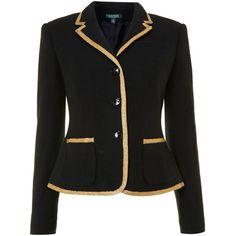Lauren by Ralph Lauren 3 button jacket with gold trim ($260) found on Polyvore