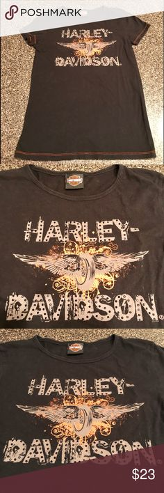 """Harley Davidson Tee Measurement for this shirt top to bottom is 25"""" and pit to pit 16.5"""". Size tag is cut out guessing it's a small or medium.Cute and stylish with just enough bling. Harley-Davidson Tops Tees - Short Sleeve"""