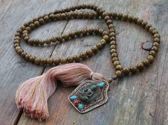Beautiful jade gemstone mala necklace decorated with a Nepalese filigree buddha pendant - look4treasures on Etsy
