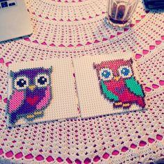 Instagram media by operledittemarie - Owls! Made for mother. One died.. #hama #hamabead #hamabeads #hamaperler #bead #beads #perler #you #perle #creative #kreativ #pixelart #beadart #art #hobby #perlerbeads #pixel #danish #dansk #denmark #danmark #owl #owls #love #two