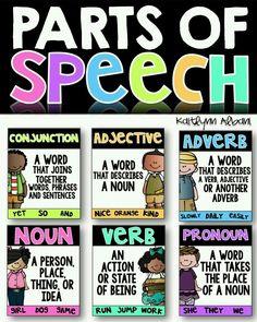 FREE Parts of Speech   ELA, Grammar, #POS, 1st 2nd 3rd 4th