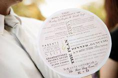 circular wedding program fan