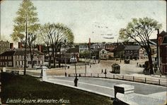 This is taken from court house hill looking at the Stephen Salisbury mansion on left where the Boys Club building resides at Lincoln Square, Worcester Massachusetts The small building to the right is the train station building as the tracks led out from there. My Dad remembers taking the train from this station out to Princeton to get to Wachusett Mountain when he was a boy in the 40's. This appears to be a replica of a photo taken dated  early in the century.