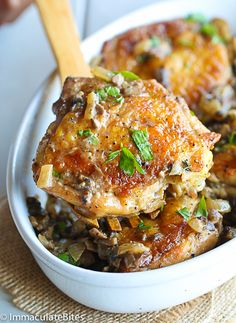 Crispy and tender Chicken thigh with a lightened up mushroom, onion and garlic sauce- Elegant, flavorful weeknight meal in 30 minutes.