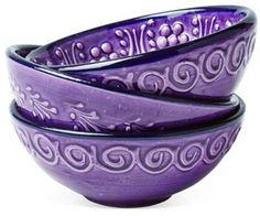 Set of 3 Hand-Painted Bowls, Purple Purple Rain, Deep Purple, Pink Purple, Purple Purse, Purple Amethyst, Light Purple, Purple Flowers, Purple Kitchen, Kitchen Colors