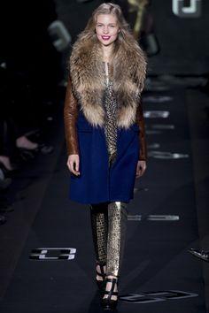 Cognac leather against deep blue wool at Diane Von Furstenburg - quite fetching indeed! #NYFW