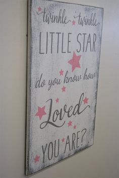 Wood Nursery Sign Twinkle Twinkle Little Star Do You Know How Loved You Are Shabby Chic Nursery Vintage Nursery Girls Nursery Baby Gift Wood Nursery, Star Nursery, Nursery Signs, Chic Nursery, Nursery Room, Nursery Decor, Baby Girl Nursery Themes, Nursery Ideas, Room Ideas