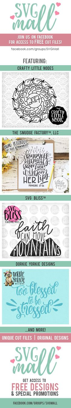 SVG Mall | Unique Cutting Files by talented artists! Find us on Facebook for access to FREEBIES and special promotions! SVG Files, Cutting Files, Silhouette Cameo, Brother Scan N Cut, SCAL, Sure Cuts A Lot, Cut Files, Printable, Printables, Wall Art, Etsy Print, Original Art, DXF Files, JPG, PNG, Clipart, Inspitational Quotes, Motivational Quotes, The Smudge Factory, Hand Lettering, Calligraphy, Vinyl Crafts, Paper Crafting, Scrapbooking, Cutting Machine, Cut Machine, Cricut Explore, Cricut…