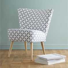 Cotton patterned vintage armchair in grey and white Scandinave | Maisons du Monde