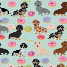 © Pet Friendly - Super cute dachshund fabric. Best dachshund print with donuts for trendy decor and home textiles. Doxie owners will love this funny dog and donuts fabric.
