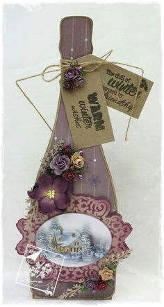 Decorated wine glass paper craft