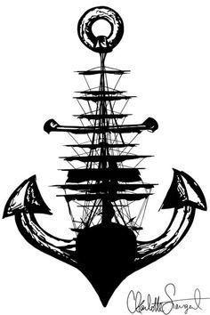 Sailboat & Anchor Nautical Print // Women's by Clarafornia on Etsy