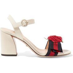 Gucci Appliquéd grosgrain-trimmed leather sandals