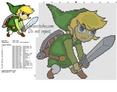 Link children with a sword character form The Legend of Zelda videogame free cross stitch pattern
