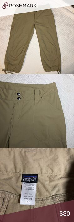 Patagonia Khaki draw string capris , size 8 Super flattering khaki Patagonia capris have drawstring around the bottom, and flattering back pockets. Lightweight and like new with no flaws. 95% nylon, 5% spandex 16 inch waist 32 top to bottom 22 inch inseam Patagonia Pants Capris