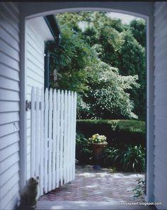 Such a cute picket gate. At Betsy Speert's Blog: My Cottage Garden