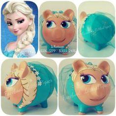 - Little Pigs Workshop Elsa Frozen, Personalized Piggy Bank, Little Pigs, Disney Characters, Fictional Characters, Workshop, Pottery, Diy Crafts, Disney Princess