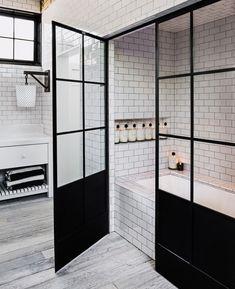black steel frame + beautiful subway tile