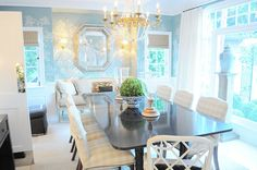 beige buffalo check dining chairs DeGournay soft blue wallpaper, perfection.