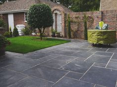 Black Indian Limestone – Natural Stone Paving & Landscaping Supplies in Hampshire Garden Slabs, Garden Tiles, Patio Slabs, Garden Floor, Patio Tiles, Back Garden Design, Patio Design, Landscaping Supplies, Backyard Landscaping