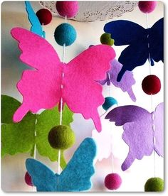 How to DIY Colorful Felt Butterfly Mobile | www.FabArtDIY.com LIKE Us on Facebook ==> https://www.facebook.com/FabArtDIY