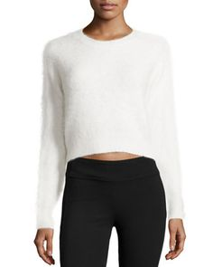 Angora-Blend+Cropped+Sweater,+Chalk+by+Line+at+Neiman+Marcus+Last+Call.