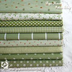 升级版!小清新绿色森女花朵 手工DIY床单面料 斜纹纯棉布料 布组