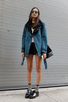 Top, shorts and jacket from Forever 21, bag Urban Outfitters and shoes from Zara.