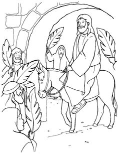 Palm Sunday...Jesus on donkey entering city coloring sheet