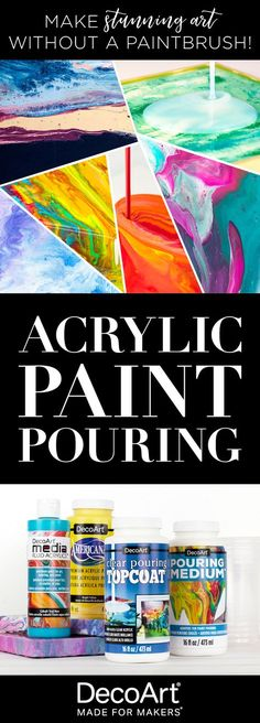 Create modern art without a paintbrush... try acrylic paint pouring today! Create cells and finish off your paintings with the NEW products from DecoArt. #decoartprojects #paintpouring