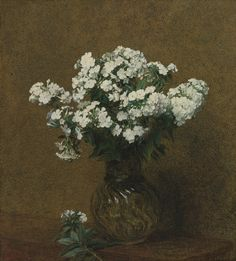 Henri Fantin-Latour (1836-1904), PHLOX BLANCS DANS UN VASE, 1892.  Sold at Sotheby's, November 2013, for $149,000 USD.