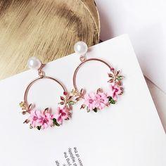 Coreano nuovi orecchini fiore in ceramica Brincos di cristallo rotonda  orecchini rosa gioielli donne pendente Boucle D oreille Femme E2436 8e1dfdc99f79
