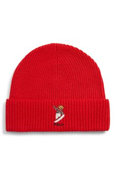 POLO RALPH LAUREN SNOW BEAR KNIT BEANIE - RED.  poloralphlauren d12727ae088f