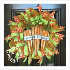 "Happy Easter Carrot Wreath Orange / Green Striped Mesh with Polka Dot Ribbons in Lime and Orange. This measures around 25"" diameter. Happy Easter sign is metal."