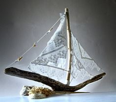 Christmas Driftwood Sailboat by purestylecrafts on Etsy, £55.00