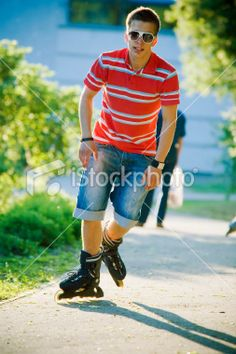 Guy on the roller blades Royalty Free Stock Photo
