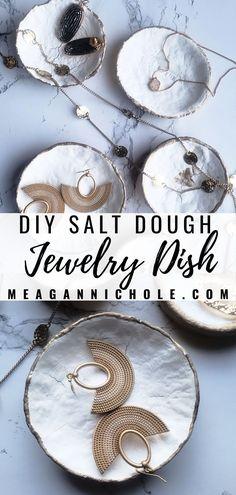 3-Ingredient Salt Dough Ring Dish | MeaganNichole.com Salt Dough Jewelry, How To Make Dough, Salt Dough Ornaments, Small Rings, Jewelry Dish, Ring Dish, Glass Dishes, Handmade Jewelry, Diy Crafts