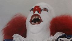 "--- Pennywise just makes me laugh now… but when I first watched IT as an 11 year old --- going on 12 …. same age as the ""younger"" kids in the movie. NOW I just laugh at Pennywise. (Pennywise from Stephen King's ""It"" Stephen King It, Steven King, Le Clown, Creepy Clown, It The Clown, Space Ghost, Scary Movies, Horror Movies, 8 Bit"