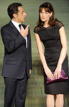 03/2009 Carla Bruni-Sarkozy, in custom Dior F09, w/ President Nicolas Sarkozy, at a cultural event during the NATO summit in Baden-Baden
