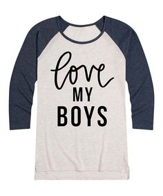 Instant Message Womens Birch & Navy Love My Boys Raglan Tee - Women | Zulily