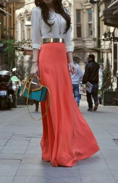 I love this whole look! I love the metallic belt. and that skirt is sooo pretty! Coral. <3