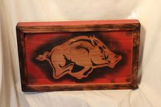 Check out this item in my Etsy shop https://www.etsy.com/listing/260979494/arkansas-razorback-wood-sign-arkansas