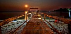 The pier at night, Nanchengwa Lodge, Lake Malawi