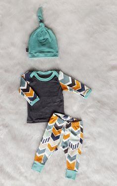 Baby Boy Coming Home Outfit Mod Chevron Shirt by brambleandbough