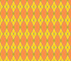 GoGirlArgyle-OrangeYellow fabric by tammikins on Spoonflower - custom fabric